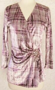 NINE WEST Blouse Top SMALL Gray Purple Lines NEW Velour Crossover Vee Dressy $12.99
