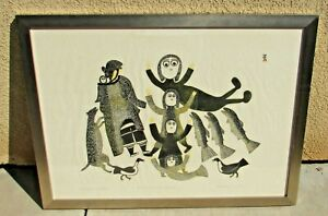 Keeleemeomee Inuit Stonecut amp; Stencil S N Lithograph A Vision of Spirt Children $349.00