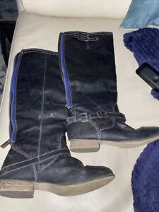 Breckelle#x27;s Leather Womens Cowboy Leather Used Boots Size 6.5 Black