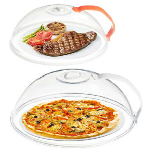 2Pcs Clear Microwave Plate Cover Splatter Lid with Steam Vent Handle BPA Free