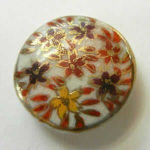 Pretty Satsuma Button Hand Painted Flowers Gold Outlines Fall Colors 13 16