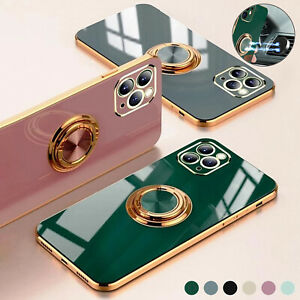 For iPhone 13 12 Pro Max 11 XS XR 87 Plus Magnetic Ring Stand Plating Case Cover $7.60