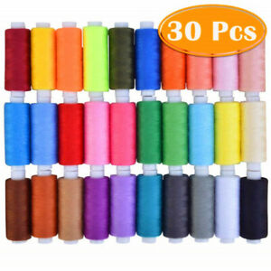 30Pcs Set Assorted Colorful Polyester Sewing Thread Spools 250 Yards Durable $9.99
