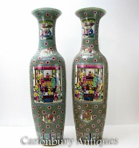 Large Ming Porcelain Urns 5 Feet Tall Chinese Vases $3230.00