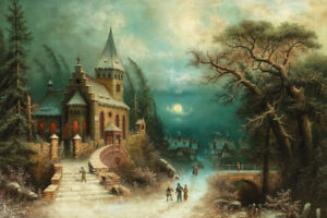 Winter church scene Oil painting Giclee Art HD Printed on canvas L3235 $26.99