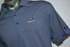 26128 a Mens Under Armour Golf Polo Shirt Size XL Blue Striped Polyester $20.99