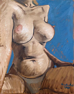Nude Female Impressionism Abstract Cubism Original Signed Oil Painting 16quot;x20quot;
