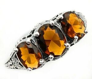 3CT Smoky Topaz 925 Solid Sterling Silver Art Deco Style Ring Jewelry Sz 7 UF8 $36.99