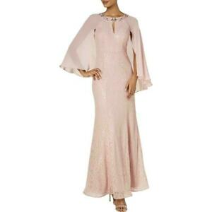 SLNY Womens Dress Faded Rose Pink Size 8 Sequined Cape Gown Lace $149 #086 $50.97