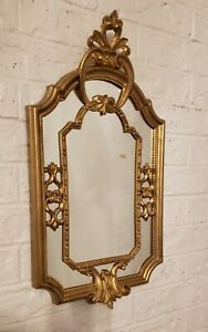 Hollywood Regency Rococo Gold Wall Mirror Decor Ornate Made In Italy 23 X 12.5 $49.50
