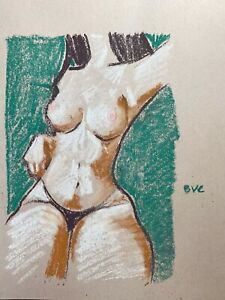 Nude Female Woman Pastel Painting Original Signed 9quot;x12quot; on Paper Impressionism