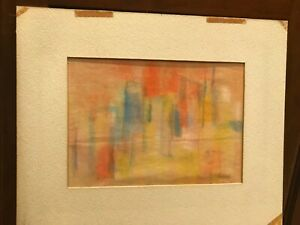 Vintage Painting Pastel Colors on Thin paper Orange Yellow Blue Gray Signed Hood $35.00