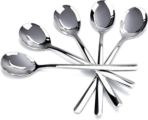 Premium Long Handle Soup Spoons Set of 5 8 Inch 18 10 Stainless Steel Round Sou