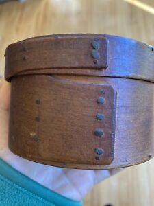 Antique 18th C EARLY Small Pantry Bentwood Box Original Surface OLD Nails $250.00