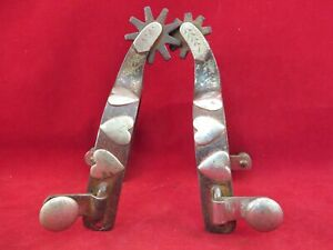 PAIR OF KELLY HEART SPURS SINGLE MOUNTED
