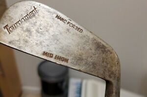 Vintage Tournament Hand Forged Mid Iron Hickory Shaft Golf Club