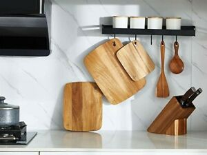 Cutting Board Set Natural Acacia Wood for Kitchen Meat Fruit Vegetables 3pcs