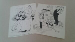 2 ORIGINAL SIGNED COMIC STRIP ART BOARDS BY GEORGE WOLFE DRUNK GIRL FRENCH MAID $49.99
