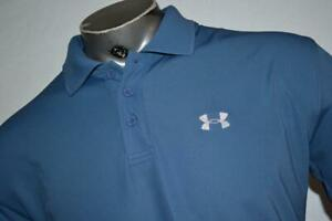27192 a Mens Under Armour Golf Polo Shirt Size Large Blue Polyester $23.99
