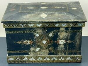 Large Antique Box Black Lacquer Mother of Pearl Wood Butterfly Jewelry Trinket $19.99