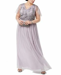 Adrianna Papell Womens Dress Purple Size 18W Plus Beaded V Neck Gown $279 #305 $109.99