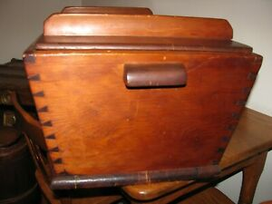 ANTIQUE Pa. WOODEN DOVETAILED DOUGH BOX amp; LID with Sq. Nails $275.00