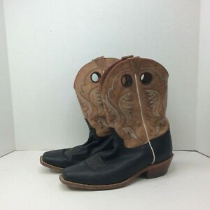 Justin Boots Black and Tan BR331 Men#x27;s Size 11 Cowboy Square Toe Soft Leather