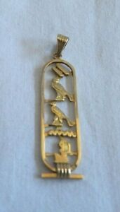 Egyptian Personalized Handmade 18K Gold Cut Out Cartouche  3-4 Letters Name
