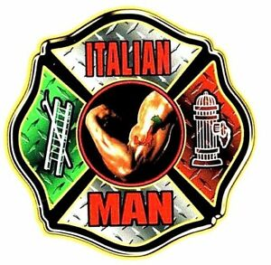 ITALIAN MAN FULL COLOR REFLECTIVE FIREFIGHTER DECALS Italian Firefighter