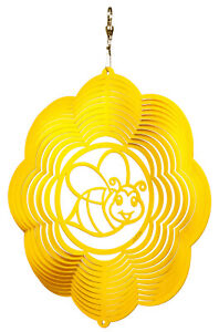 SWEN Products BUMBLE BEE CLOUD YELLOW Swirly Metal Wind Spinner