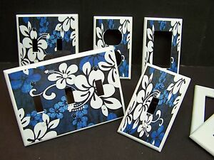 HAWAIIAN TROPICAL HIBISCUS BLUE AND WHITE LIGHT SWITCH COVER PLATE