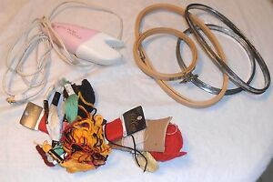 LARGE SEWING SUPPLIES LOT ELECTRIC SCISSORS EMBROIDERY LOOPS NEEDLES $25.00