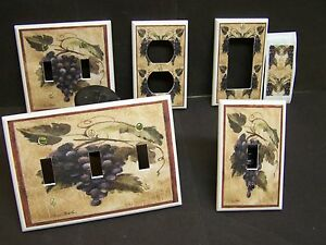 GRAPES ON THE VINE  #5  PURPLE LIGHT SWITCH COVER PLATE OR OUTLET COVER