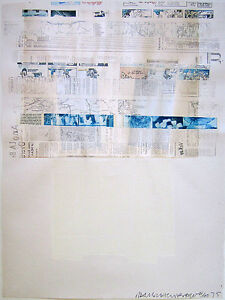 ROBERT RAUSCHENBERG Signed 1975 Original Color Lithograph with Collage