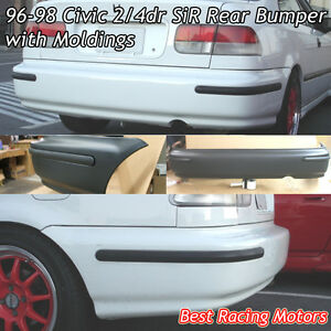 SIR Style Rear Bumper Cover + JDM Molding Fits 96-98 Honda Civic 24dr