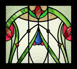 Very Special Art Nouveau Floral Antique English Stained Glass Window