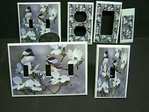 CHICKADEE BIRDS IMAGE 2 LIGHT SWITCH COVERS PLATE AND OUTLETS