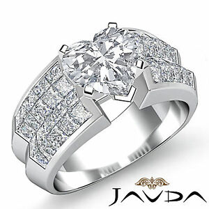 Exquisite Heart Diamond Designer Engagement Ring GIA F SI1 14k White Gold 2.72ct