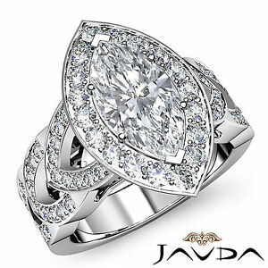 Marquise Diamond Engagement Designer Ring GIA Certified G SI1 Platinum 2.35 ct