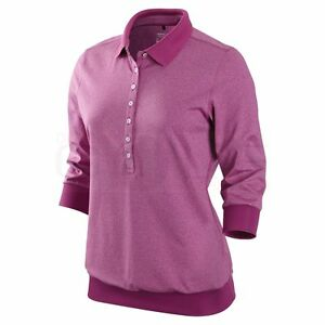 NIKE GOLF WOMENS TOUR PREMIUM CUFF POLO SHIRT DRI FIT DRY S SM SLIM FIT 483635