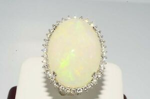 $27000 28.39CT NATURAL ETHIOPIAN OPAL & DIAMOND COCKTAIL RING INCREDIBLE DESIGN