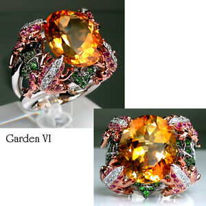 Garden - 18K(750) Rose White Gold Madeira Citrine Diamond Gorgeous Design Ring