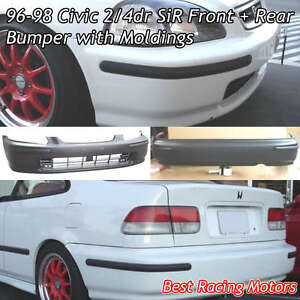 SIR Style Front + Rear Bumper Cover + JDM Molding Fit 96-98 Honda Civic 24dr