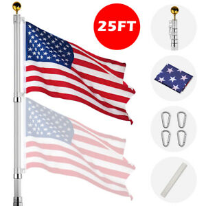25ft Flag Pole Aluminum Telescopic Flagpole Kit US Flag Ball Can Fly 2 Flag