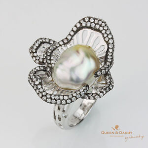 Coral Heart - 18K(750) White Gold South Sea Keshi Pearl Diamond Design Ring