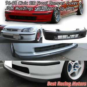 SIR Style Front Bumper Cover + JDM Molding + Front Lip Fit 96-98 Civic 234dr