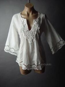 White Cotton Embroidered Flared Sleeve Bohemian Peasant Top 25 mv Blouse S M L