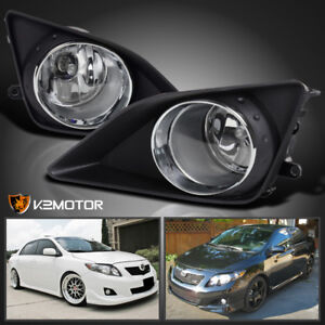 For 2009-2010 Toyota Corolla Clear Bumper Driving Fog Lights+Switch Left+Right