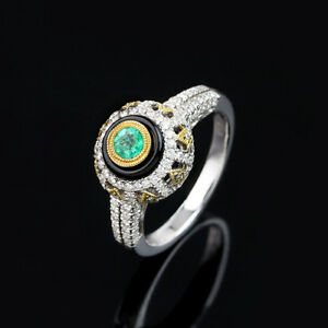 18K(750) White Gold Emerald Black onxy Diamond art deco design Ring