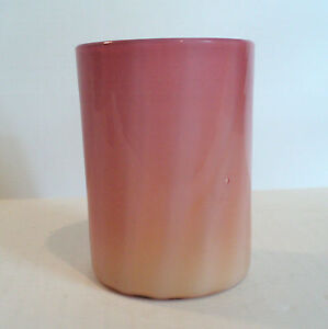 19th C. WEBB GLOSSY PEACHBLOW CASED ART GLASS TUMBLER VERTICAL RIBBING c.1880's